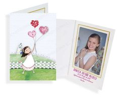 Portafotos en cartulina Comunión niña con globos