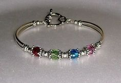 Birthstone Mother's Bracelet Swarovski by beadedjewelryforyou, $30.99