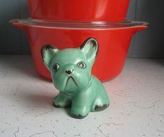 Vintage English Pottery Sylvac Bingo Dog, Bull Dog - Green/Brown