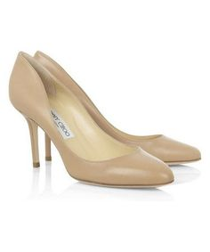 Jimmy Choo Gilbert Leather Pumps Nude Shoes