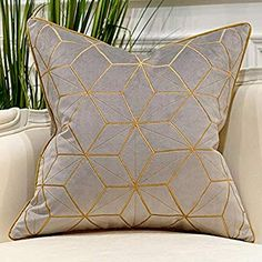 Avigers 20 x 20 Inches Grey Gold Plaid Cushion Cases Luxury European Throw Pillow Covers Decorative Pillows for Couch Living Room Bedroom Car Plaid Throw Pillows, Gold Pillows, Throw Pillow Cases, Couch Pillows, Decorative Throw Pillows, Pillow Covers, Throw Blankets, Living Room Throws, Living Room Bedroom