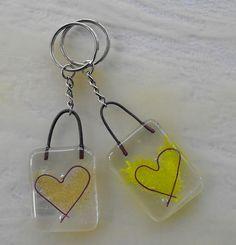 Fused glass heart keyrings   Flickr - Photo Sharing!