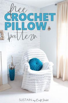 Looking for great free crochet pillow patterns? Pick up this round crochet pillow cover pattern including step-by-step DIY tutorial. Great spring decor addition for your home and couch. #crochet #crochetpillow #wool #freepattern #freecrochetpattern #coastalstyle #diy #throwpillow via @sustainmycrafth