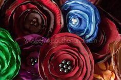 Handmade fabric flowers - good for scraps