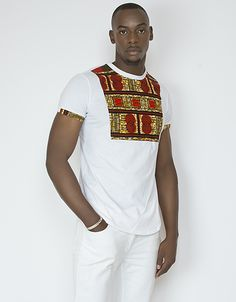 T-shirt oversized blanc fax imprimé tente orange lenadreams. African Shirts For Men, African Clothing For Men, African Print Fashion, Africa Fashion, Ethnic Fashion, Fashion Prints, T Shirts For Women, African Attire, African Wear