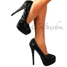Onlineshoe Sparkly High Heel Platform Stiletto Shoes Pumps