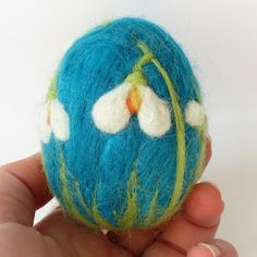 Easter eggs – snowdrops in turquoise – Easter egg on request – a designer piece … - Felted Soap, Wet Felting, Needle Felted Animals, Felt Animals, Felt Crafts, Easter Crafts, Felt Dragon, Needle Felting Tutorials, Felt Fairy
