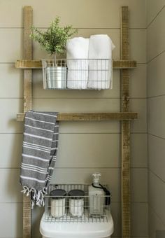 Over the commode shelving