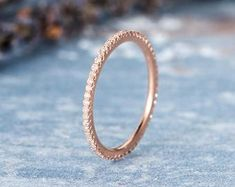 Ready To Ship Rose Gold Diamond Wedding Band Women Thin Stacking FULL Eternity Micro Pave Anniversary Gift Promise Ring Mini Dainty Engravin Rose Gold Diamond Ring, Gold Diamond Wedding Band, Gold Wedding, Dream Wedding, Classic Engagement Rings, Bridal Ring Sets, Handmade Rings, Promise Rings, Natural Diamonds