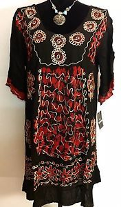 Women Red Black Floral Embroidered Scoop Neck Tunic Dress Free Size | eBay