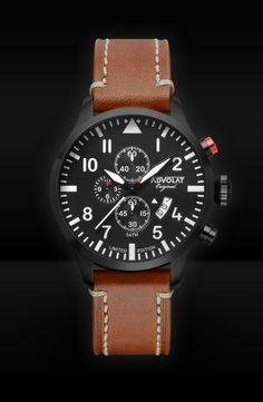The latest member of our watch family: FLIEGER 2 - a true pilot's watch! Limited Edition Watches, Saddle Leather, Watches Online, Watch Brands, Pilots, Stainless Steel Case, White Leather, Rolex Watches, Black And White