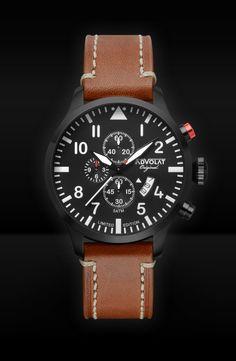 ADVOLAT FLIEGER 2, Stainless Steel Casing IP black, Face black/white, Leather Bracelet light brown saddle leather, Ref. 86008/2B-SL5
