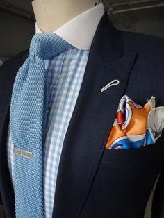Navy Suit, light blue gingham shirt, light blue knit tie