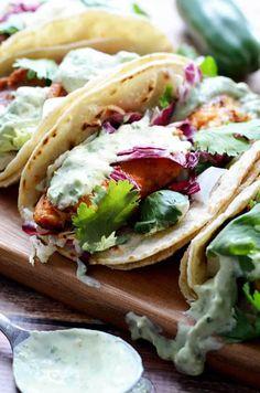 Blackened Fish Tacos with Avocado-Cilantro Sauce  | via Host The Toast