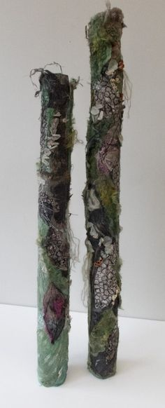 """forest floor"" felted, embroidered textiles then quilled into large tubes. natural look and very textural. Textile Sculpture, Textile Fiber Art, Textile Artists, Sculpture Art, Mixed Media Sculpture, Organic Forms, A Level Textiles, Growth And Decay, Wooly Bully"