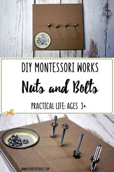 DIY Nuts and Bolts - Plenty of Trays Refine fine motor skills and concentration with this affordable Montessori DIY, especially interesting to children who love tools. Refine fine motor skills and con What Is Montessori, Montessori Practical Life, Montessori Homeschool, Montessori Classroom, Montessori Toddler, Montessori Activities, Montessori Bedroom, Baby Activities, Homeschooling