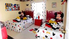 15 Cute Mickey Mouse Kids Room Designs and Furniture : Cute Beige Mickey Mouse Themed Kids Bedroom with Mickey Mouse Bedding and Curtain