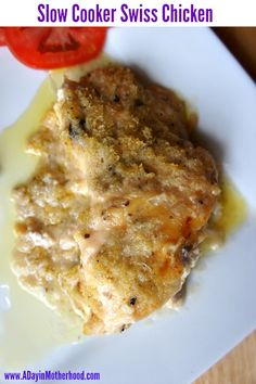 Slow Cooker Swiss Chicken.   4 chicken breasts (frozen or thawed) 8 slices thin cut Swiss cheese 1 can cream of mushroom soup ½ - 1 cup italian flavored bread crumbs ½ cup butter, melted Instructions Set the crock pot to 7 - 8 hours on low. Add frozen (or thawed) chicken breasts. Lay the chicken on the bottom. Layer cheese over the chicken. Add can of soup and bread crumbs. Drizzle melted butter over bread crumbs. Let cook. Serve.