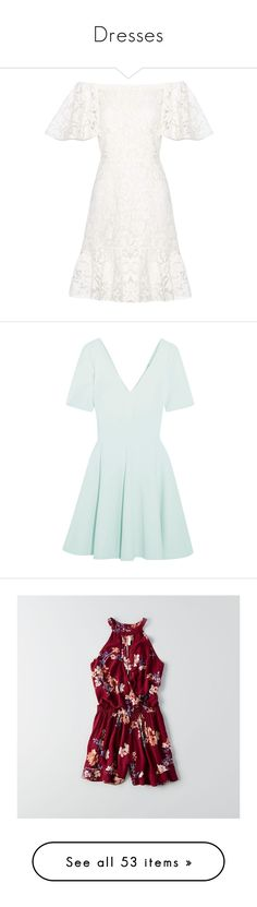 """Dresses"" by barbara-lancianese ❤ liked on Polyvore featuring dresses, white, off shoulder dress, white off the shoulder dress, white off shoulder dress, valentino dress, lacy white dress, sky blue, fit flare dress and v neck mini dress"