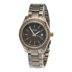 Fossil Stella Mini Stainless Steel Watch - Brown Fossil. $70.00. Brown Stainless Steel With Sparkling Stones Bezel. 5 ATM / 50 Meters / 165 Feet. Hour, Minute, Second, Date Functions. Brown Stainless Steel Bracelet. Save 44%!