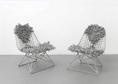 Woven Eames Chairs by Tanya Aguiniga, art works created from authentic Eames wire chairs