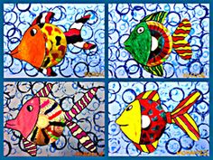 bubbles using plastic caps - cool for the background of my rainbow fish art. Tapas, Arte Elemental, Square 1 Art, First Grade Art, Fish Art, Cd Fish, Sea Crafts, Ecole Art, School Art Projects