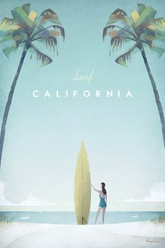 California Vintage Surf Poster | TRAVEL POSTER Co. #vintagetravelposters