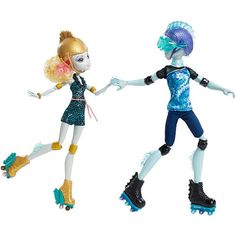 "Gillington ""Gil"" Weber and Lagoona Blue are ready to roll into Monster High history as the most scary cute couple ever. Having walked the howlways of the iconic school together since the beginning, they now come together in a two-pack of dolls that lets girls send them on a date right out of the box! And dressed in retro roller skating outfits, girls' imaginations can really take off. Daughter of the Sea Monster, Lagoona Blue, makes waves in a gore-geous patterned skating romper with pink…"
