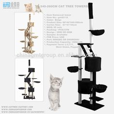 Wholesale 2017 new cat tower toys sisal pet tower products black cat tower