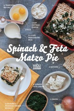 Spinach and Feta Matzo Pie (and other matzoh recipes) Best Vegetable Recipes, Spinach Recipes, Vegetarian Recipes, Passover Vegetable Recipes, Passover Recipes, Jewish Recipes, Feta, Good Food, Yummy Food
