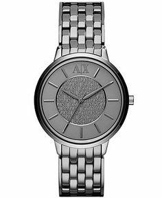 A X Armani Exchange Watch, Women's Gunmetal-Tone Stainless Steel Bracelet 38mm AX5307