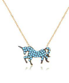 Look at this #zulilyfind! Gold & Turquoise Unicorn Pendant Necklace #zulilyfinds