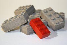 Concrete Building Blocks by studio1015: Cast to resemble a standard 2x4 LEGO. Set of 6, $8 #LEGO #Concrete #studio1015