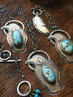 Crow Totem Pendant Necklace, Sterling Silver, Bronze, Turquoise