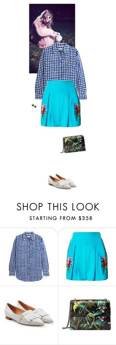 """""""Outfit of the Day"""" by wizmurphy ❤ liked on Polyvore featuring Equipment, Matthew Williamson, Rupert Sanderson, Gucci, DANNIJO, ootd and gingham"""