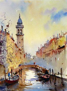 Artist: Corneliu Drăgan-Târgoviște is a member of the Birmingham Watercolour Society, and the first Romanian painter chosen to be part of this organization.