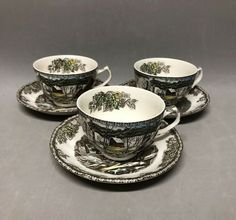 Set of 3 Vtg Johnson Bros Friendly Village THE COVERED BRIDGE Teacups & Saucers #JohnsonBros Tea Cup Set, Tea Cup Saucer, Johnson Bros, Covered Bridges, Cupping Set, Teacups, Tableware, Dinnerware, Covered Decks