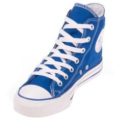 The Converse Chuck Taylor royal blue hi top shoe is a comfortable basketball shoe that features a bold blue canvas upper, white rubber outsole, and classic vulcanized construction.
