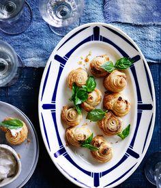 Australian Gourmet Traveller recipe for anchovy puffs. Gourmet Recipes, Appetizer Recipes, Baking Recipes, Gourmet Foods, Fish Recipes, Savoury Baking, Savory Pastry, Empanadas Recipe, Puff Recipe