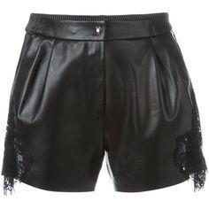 Philipp Plein lace insert shorts ($1,121) ❤ liked on Polyvore featuring shorts, black, zipper shorts, elastic waist shorts, philipp plein, pleated shorts and elastic waistband shorts