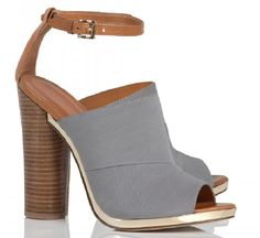 Rebecca Minkoff gray Ragini stacked heel