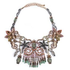 Statement Necklace This Bohemian style necklace has a gorgeous beaded detail arranged in a unique pattern. - Lobster clasp closure - Estimated delivery: 2-5 business days