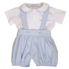 9fd866ef32b Sue Hill william shirt and romper set in white pale   blue Baby Boy Christening  Outfit