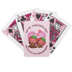 #Valentine #Love Playing Cards #valentinesday #couples #together #strawberries #zazzle #jamiecreates1 #cards