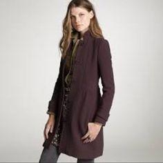 J. Crew Dark Purple Double Cloth Dress Coat