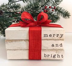 Merry and Bright Christmas Decorative Book Stack. Farmhouse Christmas Decor. Rustic Christmas Distressed Book Stack