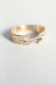 Jennie Kwon Designs - Stacked Diamond Cuff Ring | BONA DRAG