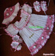 Little girl pink & white dress, hat, & booties Crochet Mitts, Crochet Bebe, Baby Girl Crochet, Crochet Baby Clothes, Crochet Chart, Crochet For Kids, Crochet Toys, Knit Crochet, Crochet Designs