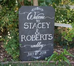 Wedding welcome on chalkboard with cut corners