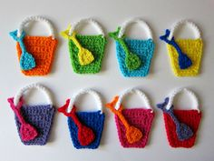 1pc 4.5 Crochet PAIL and SHOVEL Applique by PinkMeStudio on Etsy
